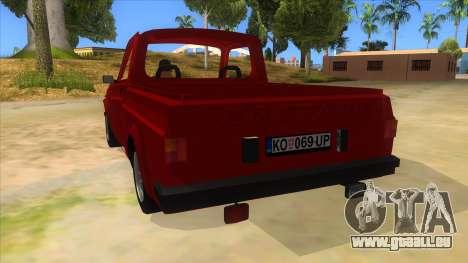 Zastava Poly 1.1 pour GTA San Andreas sur la vue arrière gauche
