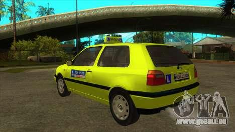VW Golf Mk3 Top Speed Auto Skola für GTA San Andreas zurück linke Ansicht