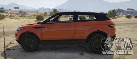 GTA 5 Range Rover Evoque 3.0 vue latérale gauche