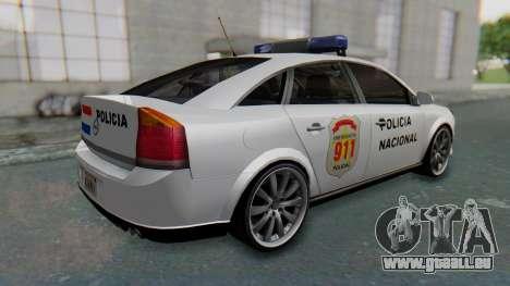 Opel Vectra 2005 Policia pour GTA San Andreas sur la vue arrière gauche