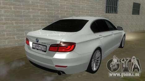 BMW 530XD F10 pour GTA San Andreas vue arrière