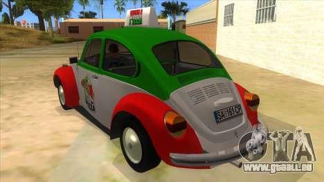 Volkswagen Beetle Pizza pour GTA San Andreas sur la vue arrière gauche