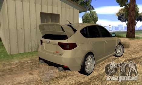 Subaru Impreza WRX STI 2008 LPcars v.1.0 für GTA San Andreas zurück linke Ansicht