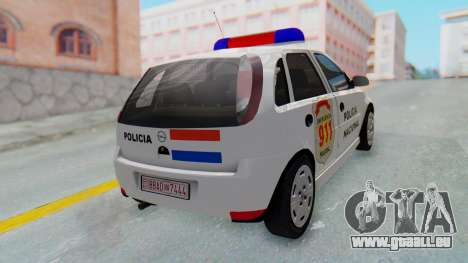 Opel Corsa C Policia pour GTA San Andreas sur la vue arrière gauche