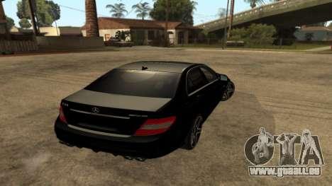 Mercedes-Benz C63 AMG pour GTA San Andreas laissé vue