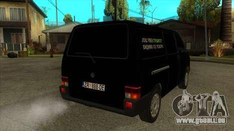VW T4 Mrtvačka roues pour GTA San Andreas vue de droite