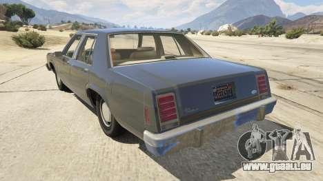 GTA 5 1987 Ford LTD Crown Victoria arrière vue latérale gauche
