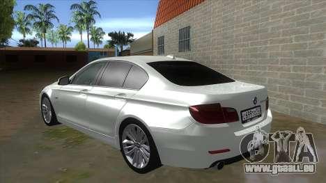 BMW 530XD F10 pour GTA San Andreas sur la vue arrière gauche