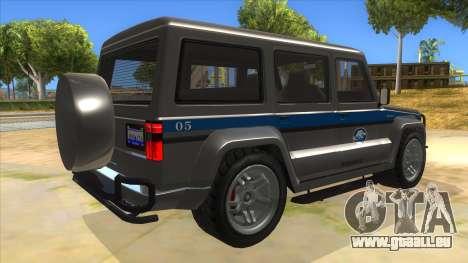 Benefactor Dubsta Jurassic World Security für GTA San Andreas rechten Ansicht
