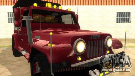 Jeep Pick Up Stylo Colombia pour GTA San Andreas vue arrière