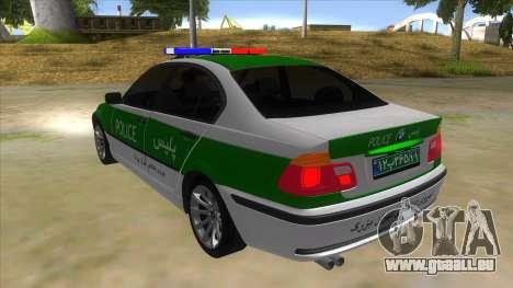 BMW Iranian Police pour GTA San Andreas sur la vue arrière gauche