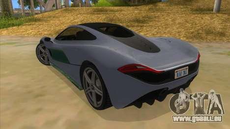 GTA 5 Progen T20 Lights version pour GTA San Andreas sur la vue arrière gauche