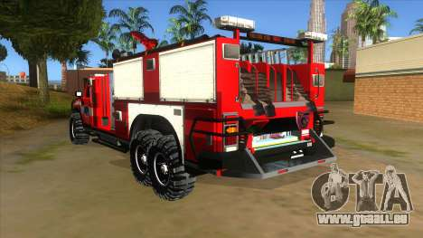 HUMMER H2 Firetruck pour GTA San Andreas sur la vue arrière gauche