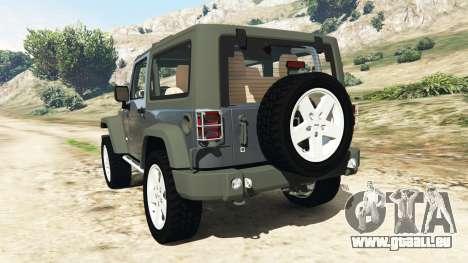 GTA 5 Jeep Wrangler 2012 v1.1 hinten links Seitenansicht
