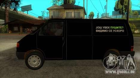 VW T4 Mrtvačka roues pour GTA San Andreas laissé vue