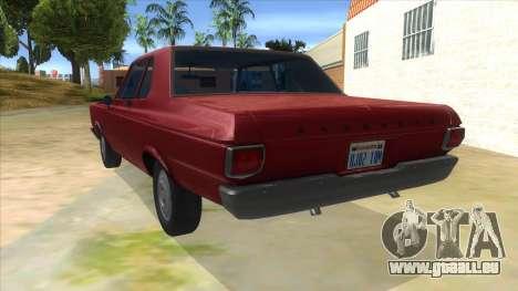 1965 Plymouth Belvedere 2-door Sedan pour GTA San Andreas sur la vue arrière gauche