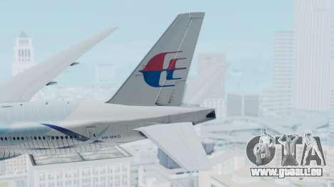 Boeing 777-2H6ER Malaysia Airlines pour GTA San Andreas sur la vue arrière gauche