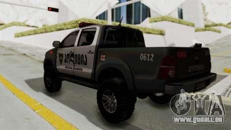 Toyota Hilux 4WD 2015 Georgia Police pour GTA San Andreas laissé vue