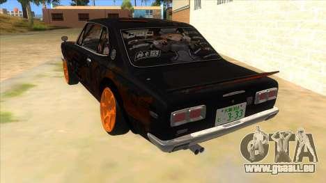 1971 Nissan GT-R Hakosuka pour GTA San Andreas sur la vue arrière gauche