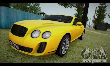 Bentley Continental für GTA San Andreas zurück linke Ansicht