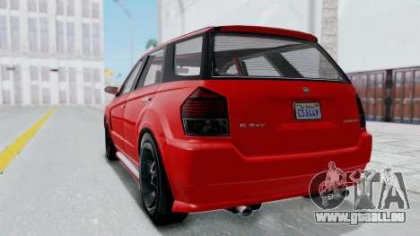 GTA 5 Benefactor Serrano pour GTA San Andreas sur la vue arrière gauche