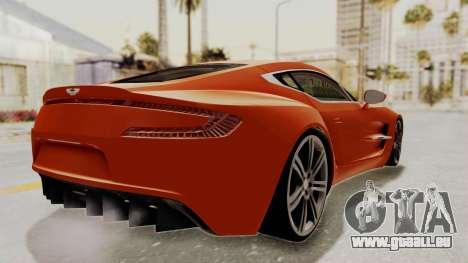 Aston Martin One-77 2010 Autovista Interior pour GTA San Andreas laissé vue