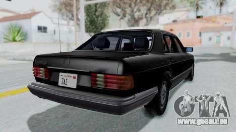 Mercedes-Benz 560SEL 1987 US-spec pour GTA San Andreas laissé vue