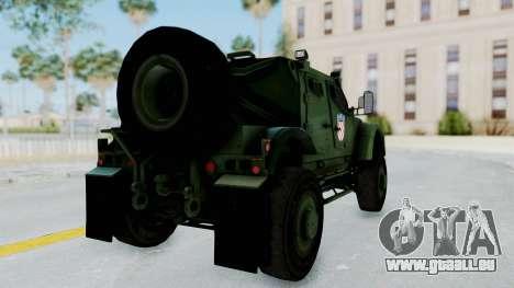 Croatian Oshkosh M-ATV Woodland pour GTA San Andreas sur la vue arrière gauche