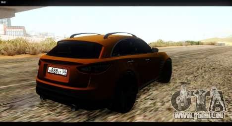 Infiniti FX37 für GTA San Andreas Rückansicht