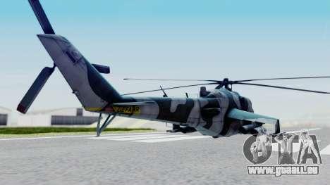 Mi-24V GDR Air Force 45 pour GTA San Andreas sur la vue arrière gauche