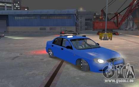 Daewoo Lanos Taxi pour GTA 4 est une vue de l'intérieur