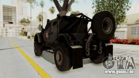 Croatian Oshkosh M-ATV Desert pour GTA San Andreas sur la vue arrière gauche
