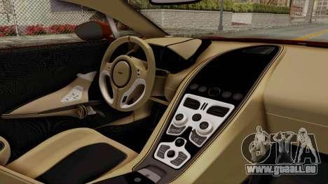 Aston Martin One-77 2010 Autovista Interior für GTA San Andreas rechten Ansicht