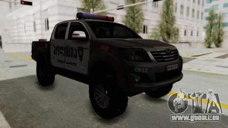 Toyota Hilux 4WD 2015 Georgia Police für GTA San Andreas rechten Ansicht