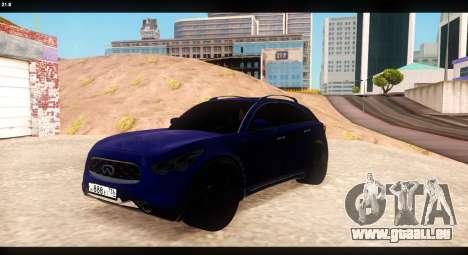 Infiniti FX37 für GTA San Andreas Innenansicht