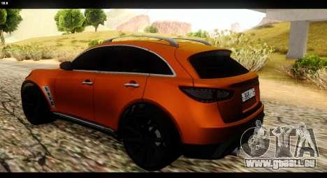Infiniti FX37 pour GTA San Andreas laissé vue