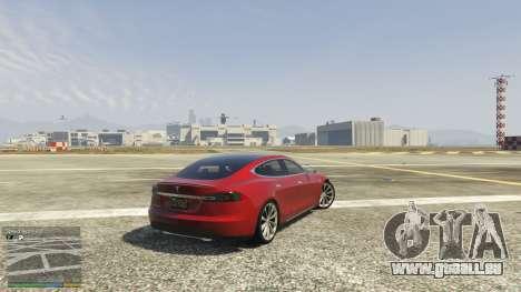 GTA 5 Tesla Model S arrière droit vue de côté