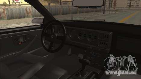 Pontiac Firebird Trans Am Monster Truck 1982 pour GTA San Andreas vue intérieure