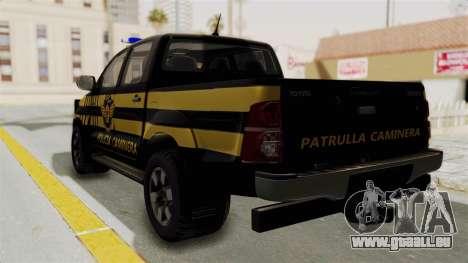 Toyota Hilux 2015 Patrulla Caminera Paraguaya pour GTA San Andreas laissé vue