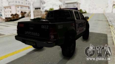 Toyota Hilux 4WD 2015 Georgia Police für GTA San Andreas zurück linke Ansicht