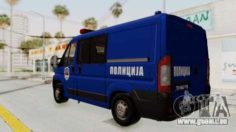 Fiat Ducato Police für GTA San Andreas zurück linke Ansicht