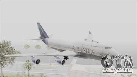 Boeing 747-400 Air India pour GTA San Andreas sur la vue arrière gauche