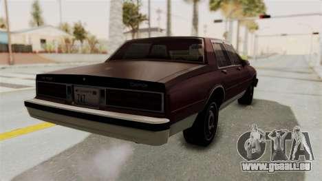 Chevrolet Caprice 1987 v1.0 pour GTA San Andreas sur la vue arrière gauche