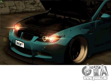 BMW M3 E92 Liberté à Pied LB Performance pour GTA San Andreas vue intérieure