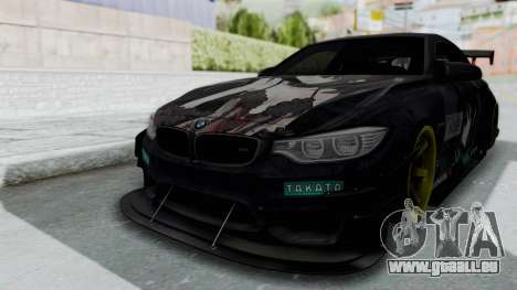 BMW M4 Kurumi Itasha pour GTA San Andreas sur la vue arrière gauche