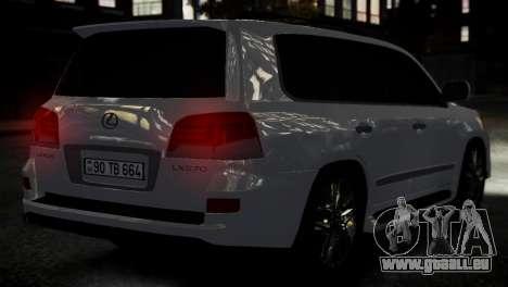 Lexus Lx 570 2014 sport pour GTA 4 Vue arrière de la gauche
