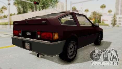 Blista Compact GPX (Beta VC Blistac) pour GTA San Andreas laissé vue