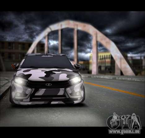 Lada Vesta Camouflage pour GTA San Andreas sur la vue arrière gauche