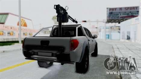 Mitsubishi L200 Army Libyan pour GTA San Andreas sur la vue arrière gauche