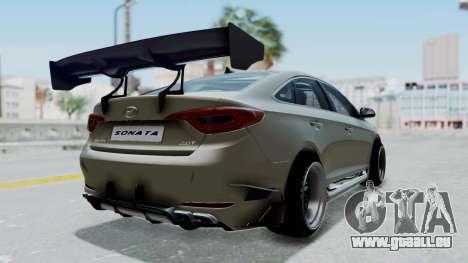 Hyundai Sonata LF 2.0T 2015 v1.0 Rocket Bunny pour GTA San Andreas sur la vue arrière gauche